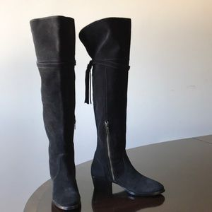 Frye Black Suede Leather  6M over the Knee Boots